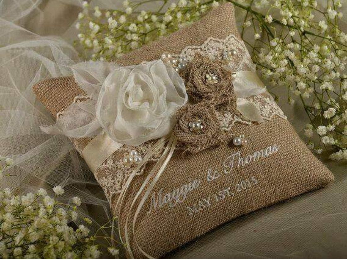 Lace Rustic Wedding Pillow Burlap Ring Bearer Embroidery Names Shabby Chic Natural Linen On Etsy