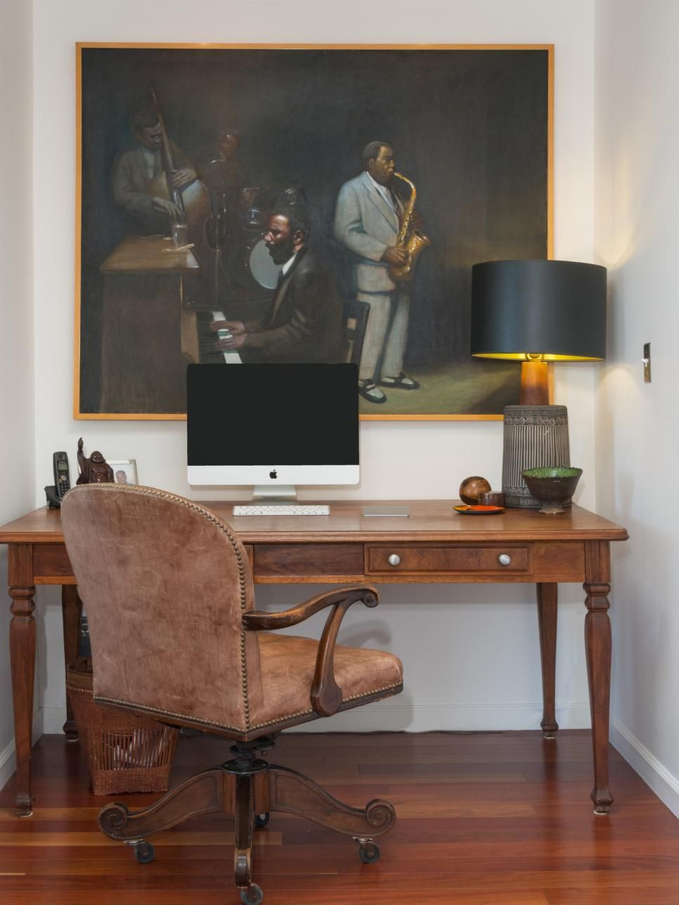 accessories home office tables chairs paintings. A Large Painting Of Jazz Musicians Creates Mellow Mood In This Small Home Office. Accessories Office Tables Chairs Paintings O