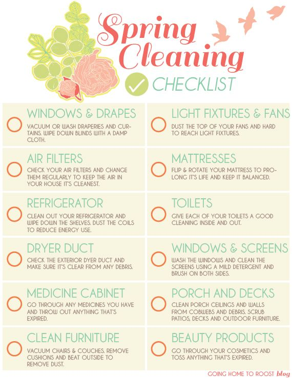 Spring Cleaning Printable Checklist  Home Manage Binder Free