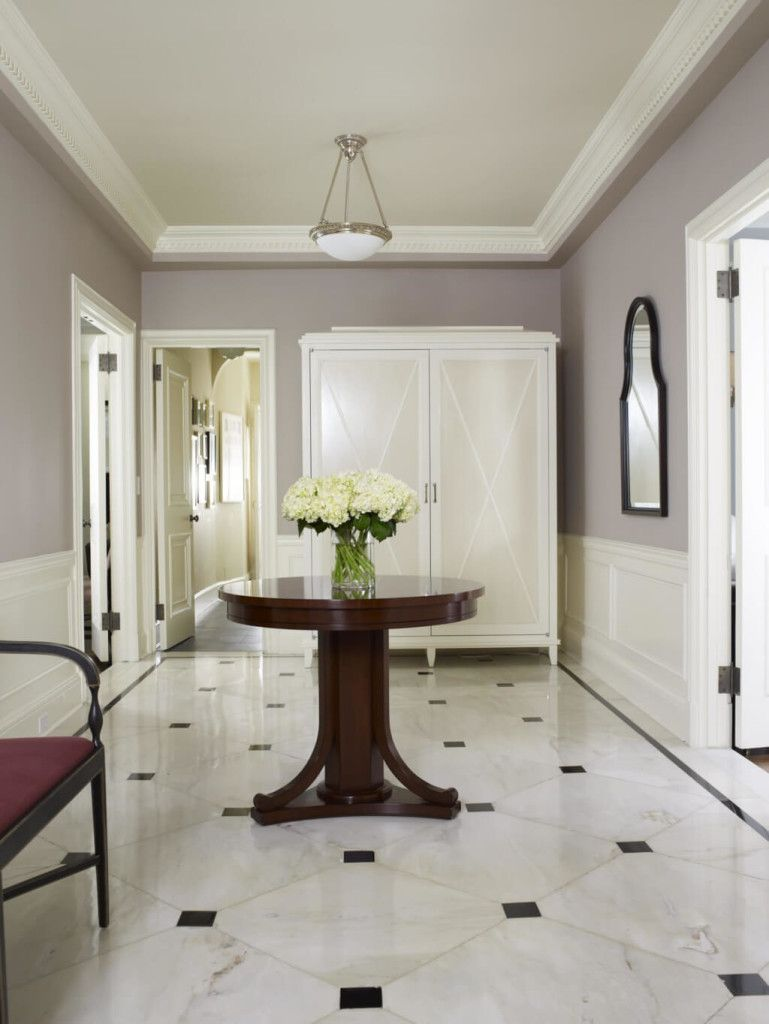 Gray walls with white wainscoting | White marble floor, Foyer ...
