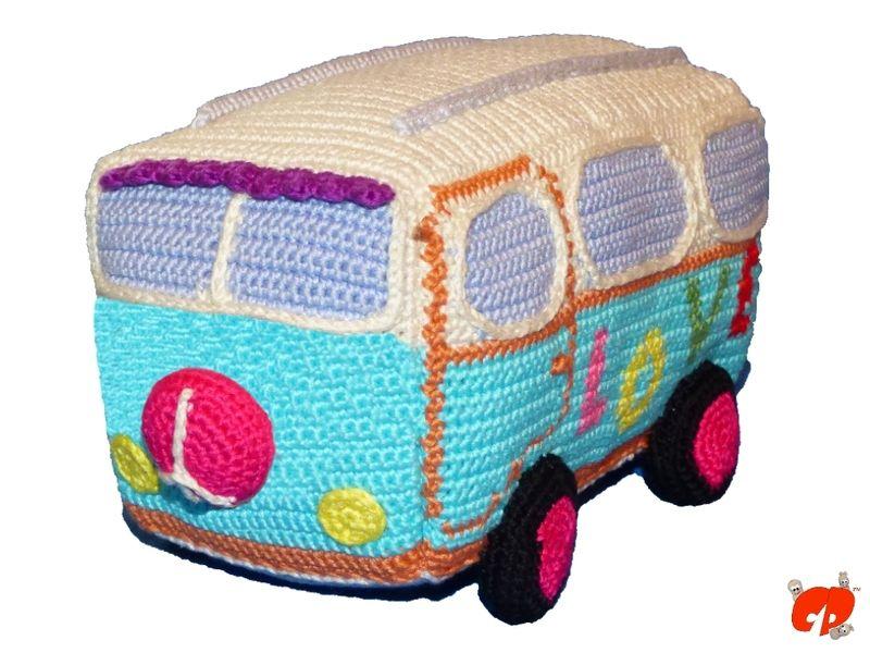 Häkelanleitung: Hippie Bus   Amigurumi