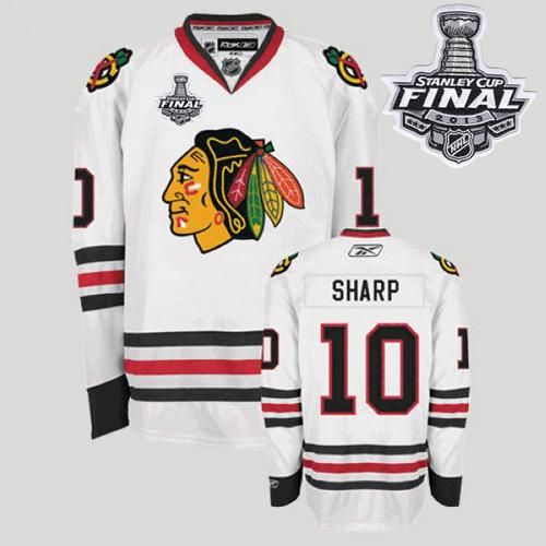 19009733c0a Blackhawks #10 Patrick Sharp Embroidered White With Stanley Cup Finals NHL  Jersey @Emillia Kelly