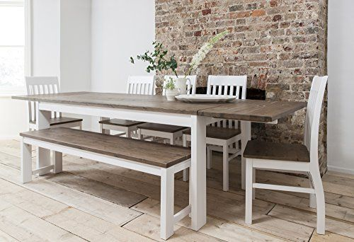 479 Hever Dining Table With 5 Chairs Bench In White And Dark Pine Extendable With 2 X Extensions Dining Table With Bench Dining Table Dining Table Chairs