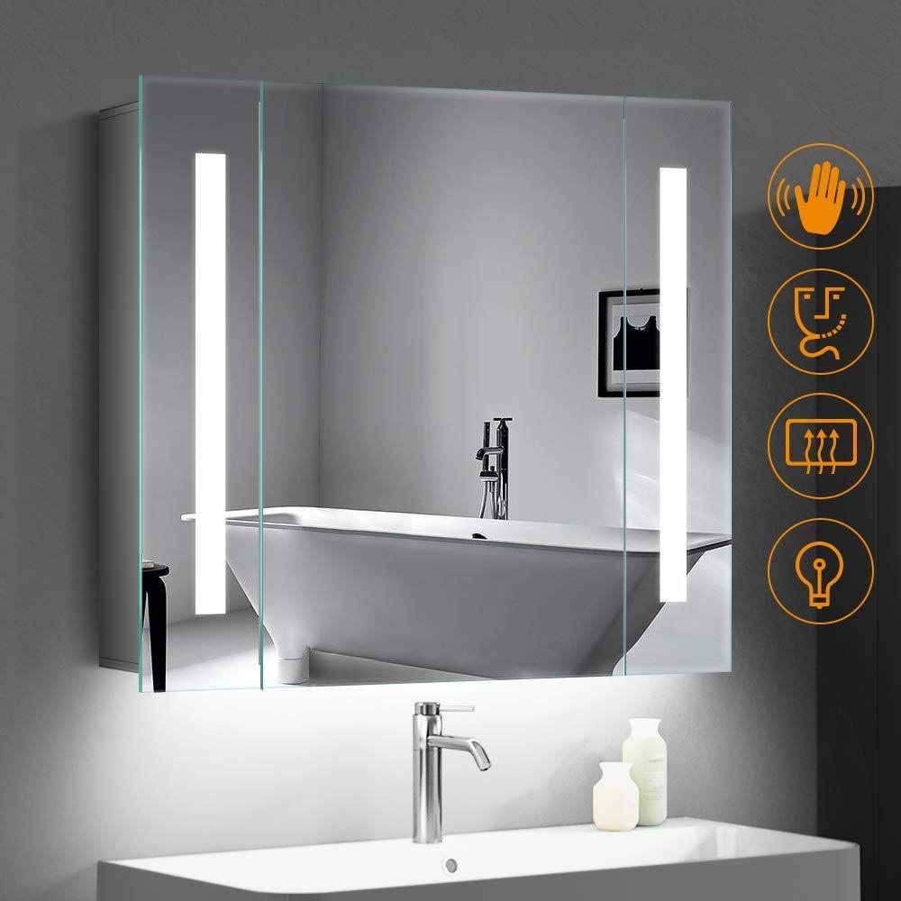 Quavikey 650 X 600mm Led Illuminated Bathroom Mirror Cabinet Aluminum Bathroom Mirror With Shaver Socke With Images Bathroom Mirror Cabinet Mirror Cabinets Bathroom Mirror