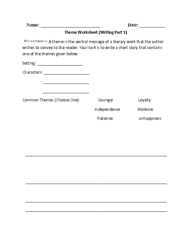 Writing Theme Worksheet Middle School Language Pinterest