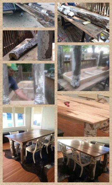 DIY Farm Table. All reclaimed wood from an old grave yard . . .