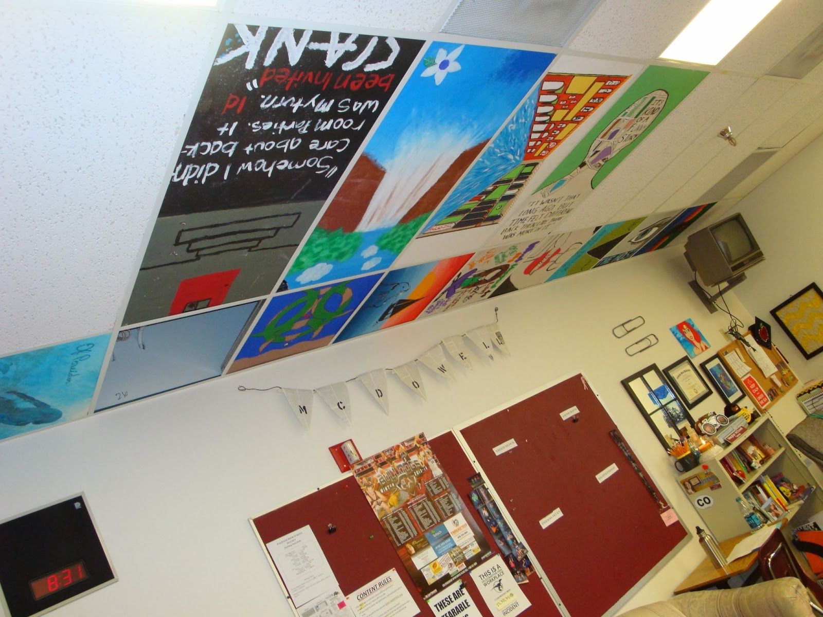 My classroom set up organization paint ceiling classroom painted ceiling tiles dailygadgetfo Images