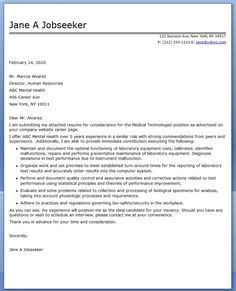 Medical Technologist Cover Letter Examples  Jobs