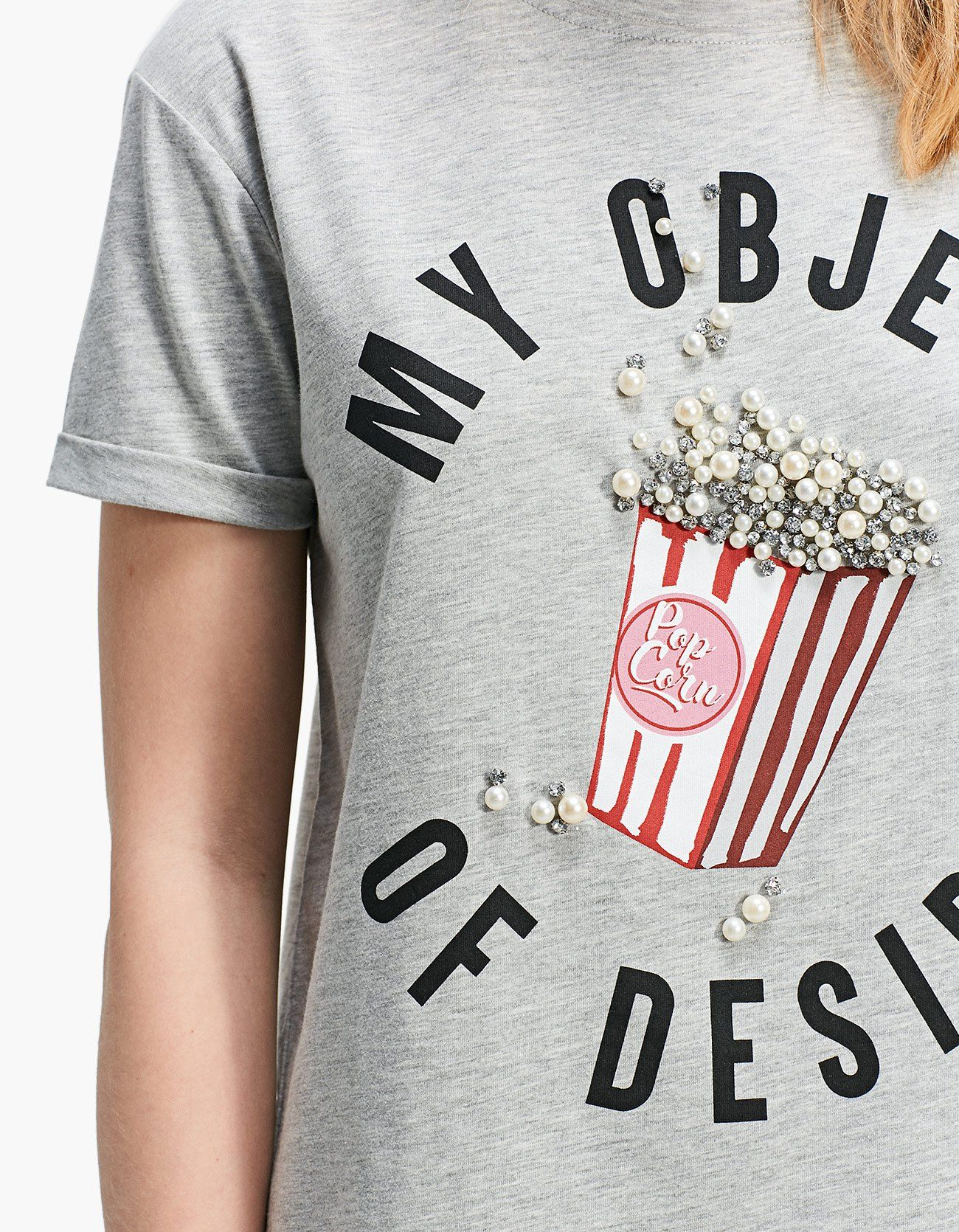 1bba7aa474 Popcorn T-shirt with gem appliqués - T-shirts | Stradivarius Sweden ...