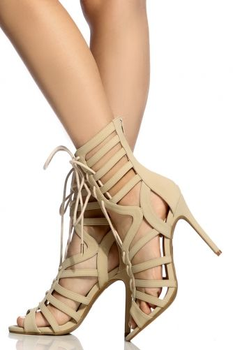 def4f4c9d7f Buy Nude Faux Nubuck Cut Out Lace Up Heels with cheap price and high  quality from Cicihot Heel Shoes online store which also sales Stiletto Heel  Shoes