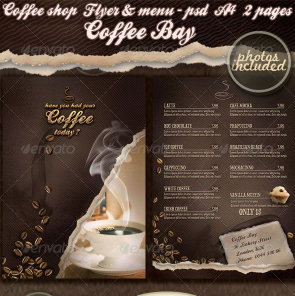 Coffee shop flyer \ menu Coffee Pinterest Restaurant menu - coffee shop brochure template