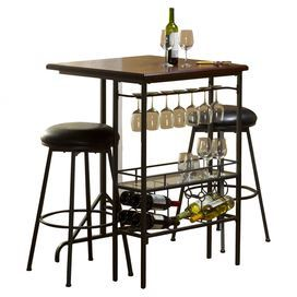 "Entertain your guests in style with this classic bar set, showcasing a pewter-finished metal frame and ample storage space for wine glasses and your favorite vintages.    Product: 1 table and 2 barstoolsConstruction Material: Wood, glass, metal and vinylColor: Cherry and blackFeatures: Glass rack holds seven glassesOne open shelfDimensions: 42"" H x 30"" W x 30"" D (table)"