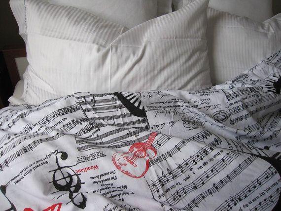 Book bedding sheet music notes guitar print duvet cover for Guitar bedding for boys