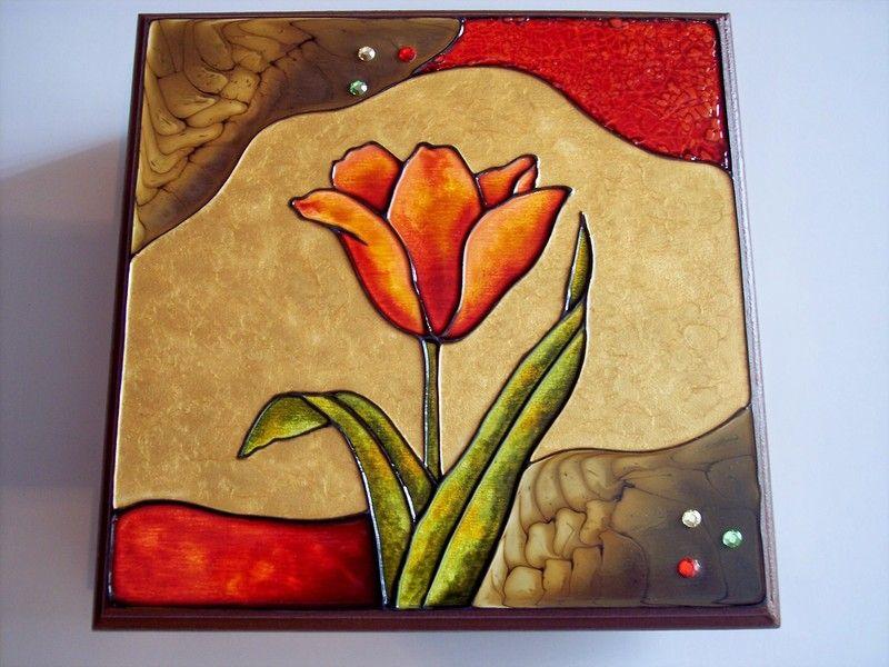 Faux Vitrail Sur Boite à Napkin Peinture Faux Vitrail Peinture