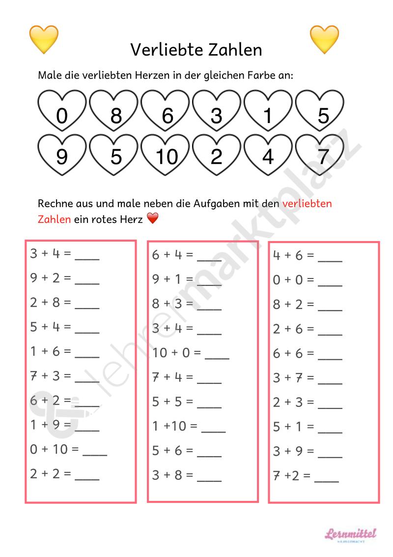 Verliebte Zahlen - Seite 1 : Fuchsklasse Mathe : Pinterest ...