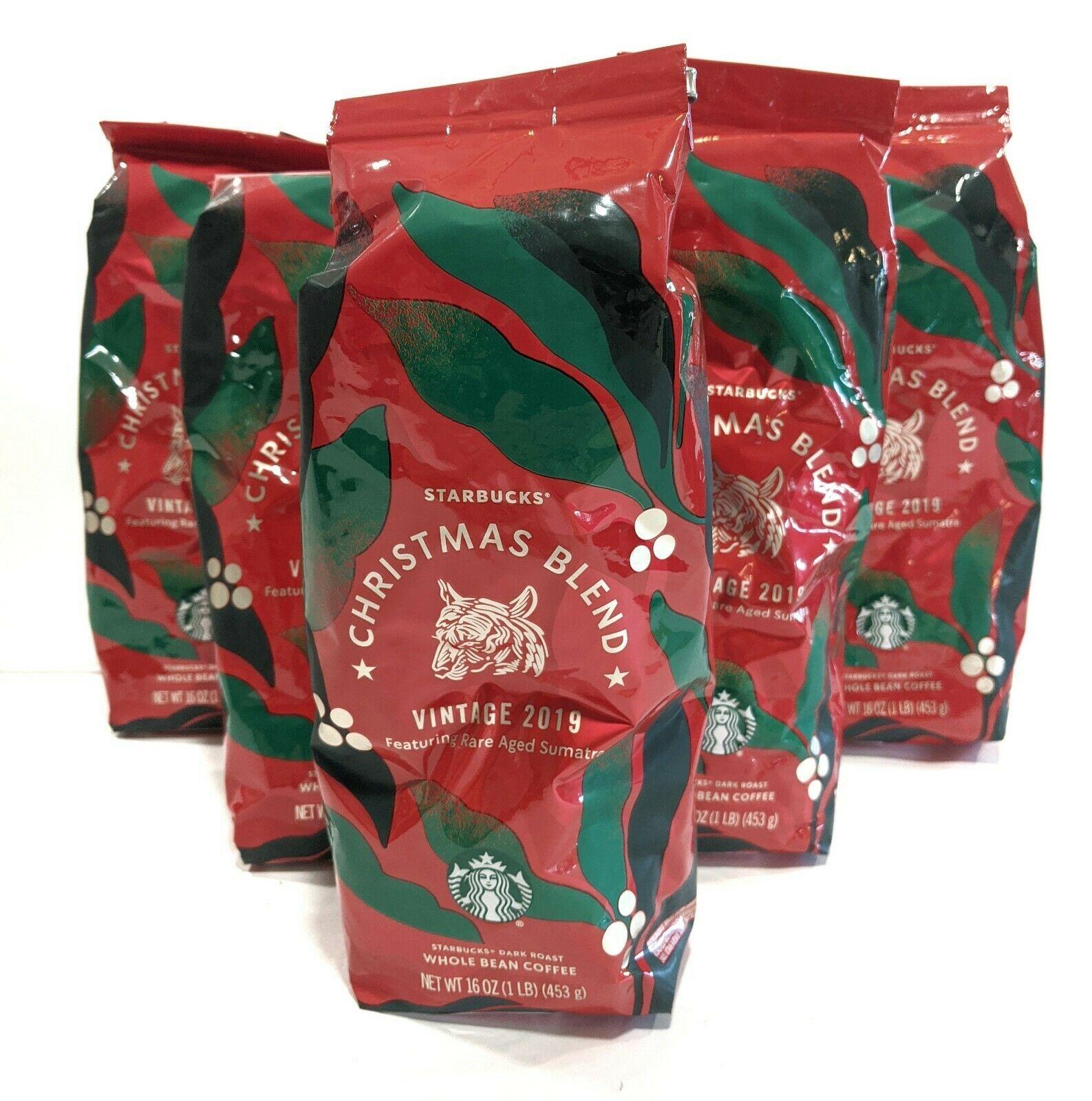 6 Bags Starbucks Whole Bean Coffee CHRISTMAS BLEND Vintage 2019 1