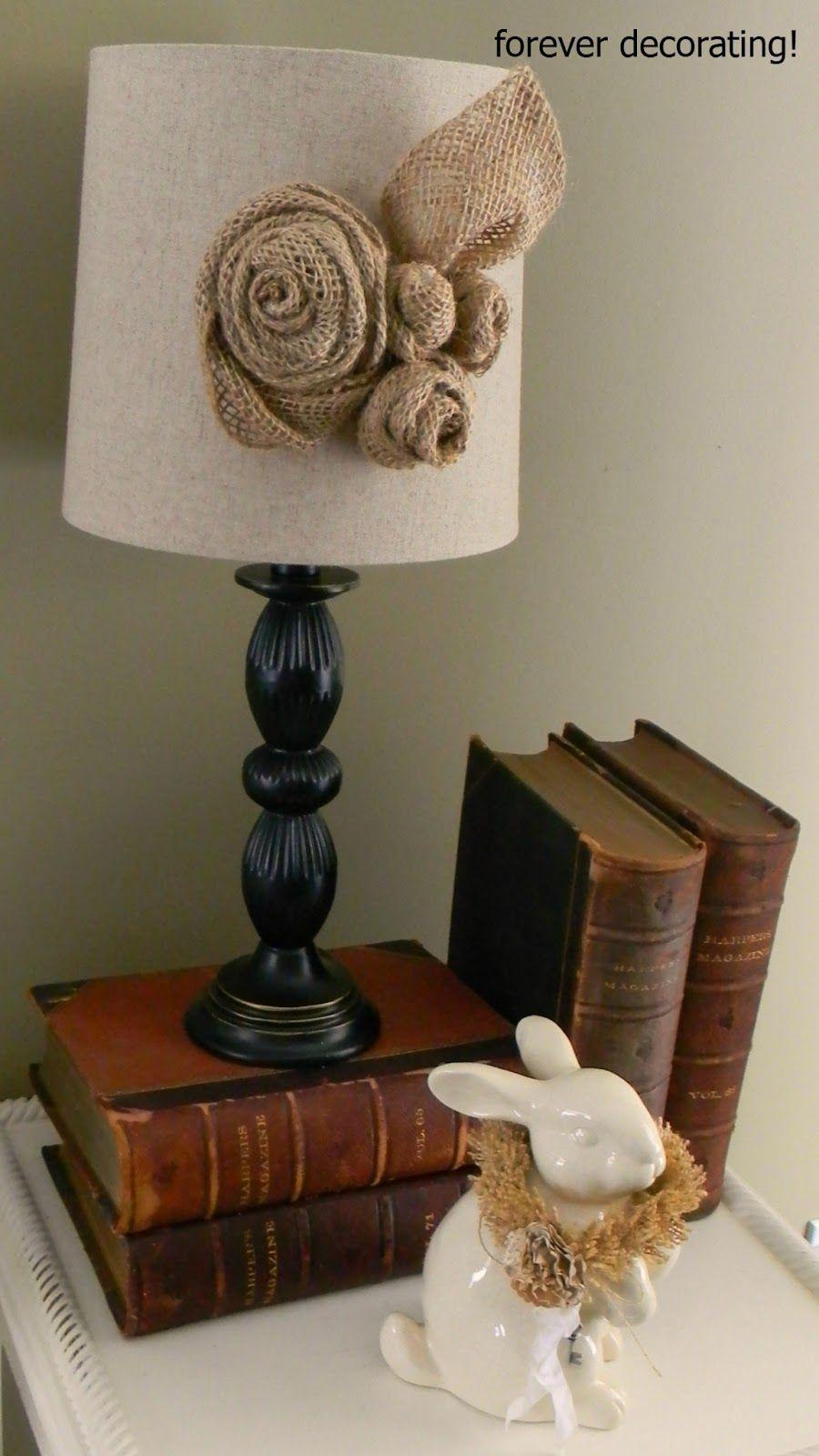 Burlap Roses Decorate Lampshade Decor