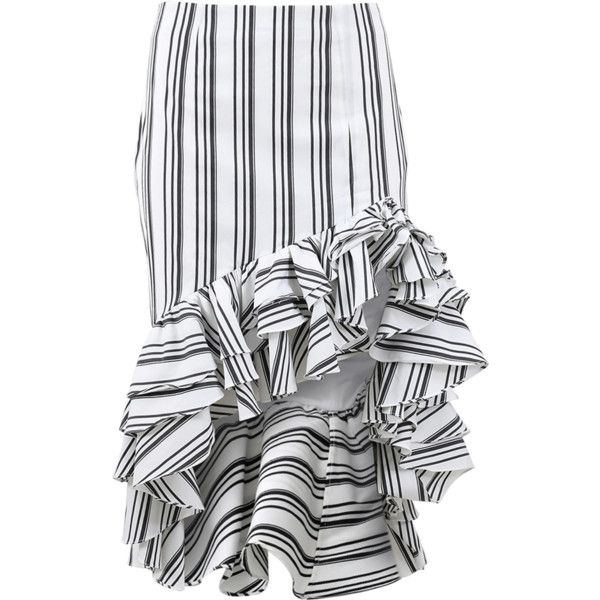 d38c0d8cb6 ... Pencil Skirt ($485) ❤ liked on Polyvore featuring skirts, stripe skirt,  cotton pencil skirt, knee length skirts, high low skirt and white and black  ...