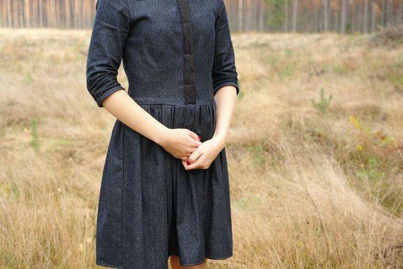 Dress Womens dress Black denim dress 3 quarter by CollectionWN