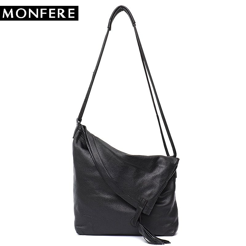 MONFERE Real Leather Vintage Lady Tote Bag Casual Design Large Genuine Leather  Handbags Ladies Tassel Messenger Cross body Bags Review e7e60859d5af9
