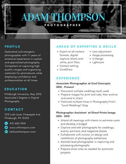 Aqua Bordered Photographer Photo Resume resume Pinterest
