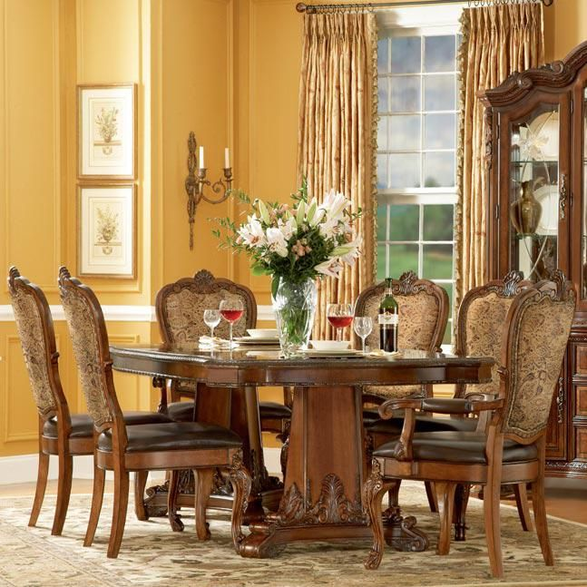 Old World 7 Piece Double Pedestal Dining Table Set By A R T