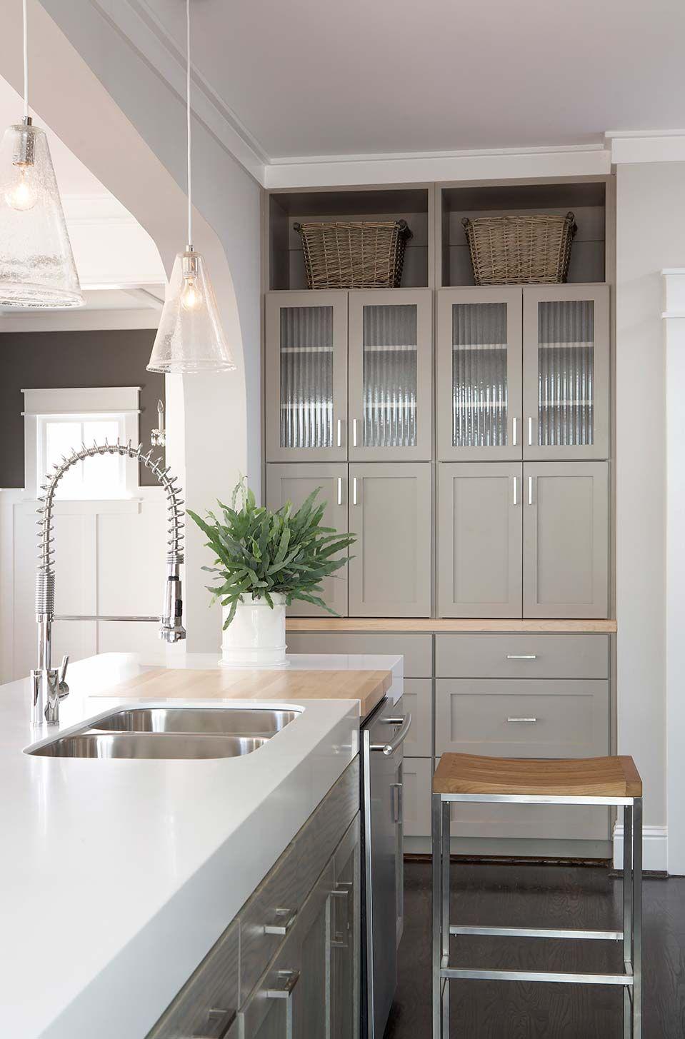 kitchen with thick corian counters | side return extension ... - Armadietti Della Cucina Idee Progettuali