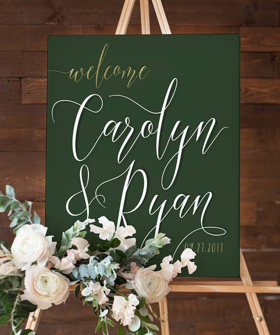 Dark Green Wedding Welcome Sign For Hunter Green Wedding