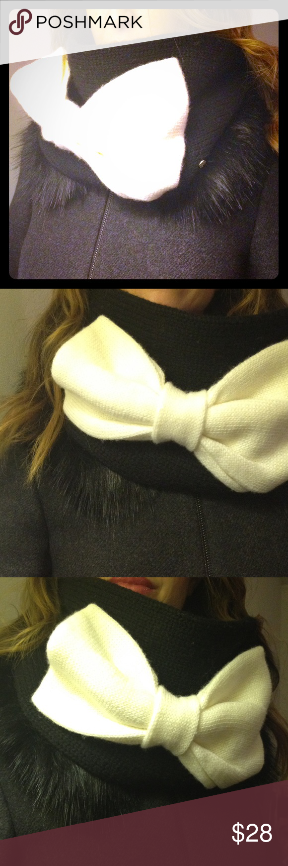 ♠️ kate spade ♠️ colorblock bow neckwarmer Kate Spade ♠️ Infinity type muffler scarf.  Cream bow on black scarf. Be kind to others. kate spade Accessories Scarves & Wraps