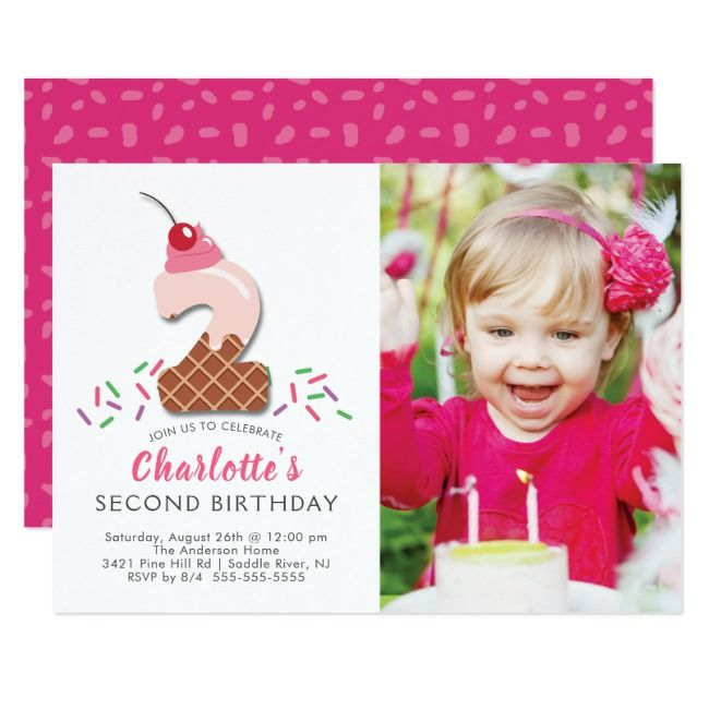 Photo Ice Cream 2ND Birthday Invitation |  Photo Ice Cream 2ND Birthday Invitation