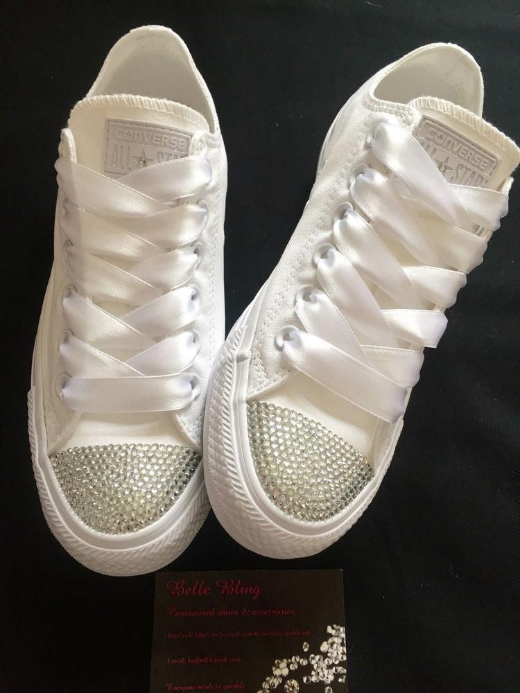 Wedding Bridal Converse Trainers Mono White Bling Personalised 3 4 5 6 7 8  9 in Clothes 6bd2e6534
