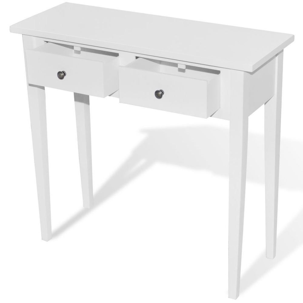 White console sofa table accent furniture entryway living room wood