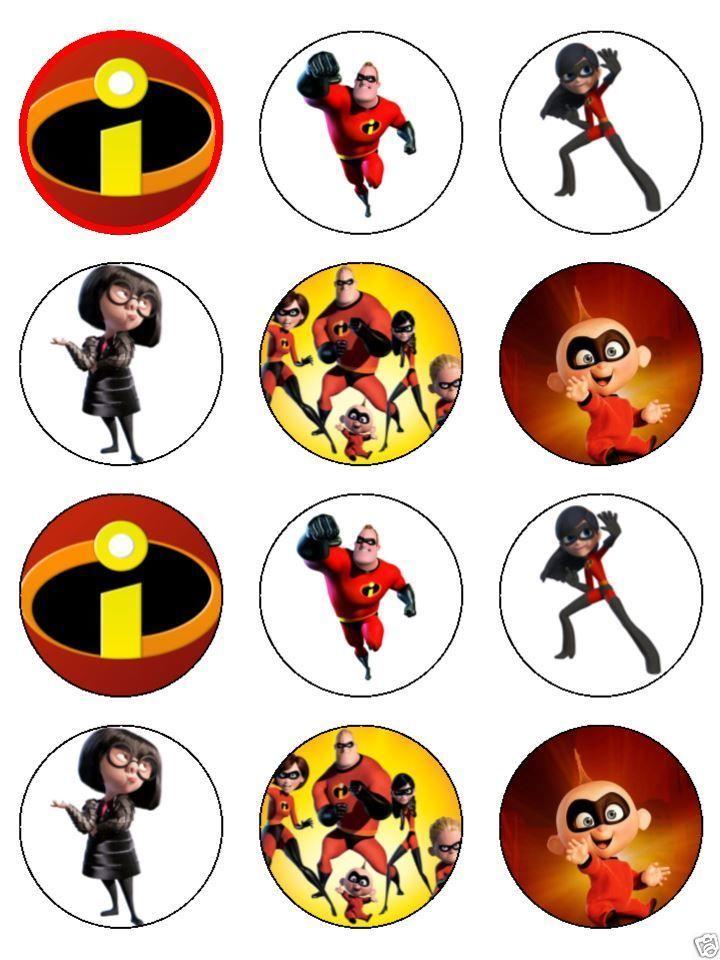 Disney/'s Incredibles 2 Cupcake Toppers Edible Image Logo