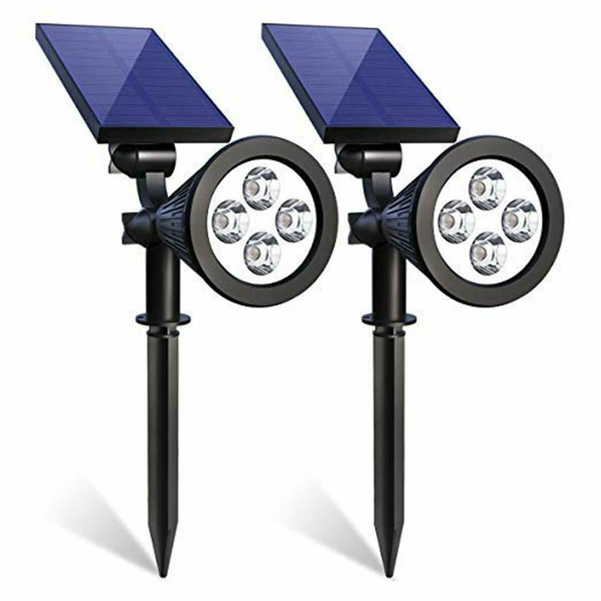 2 Pack Solar Powered 4 Led Spot Light Waterproof 180 Adjustable
