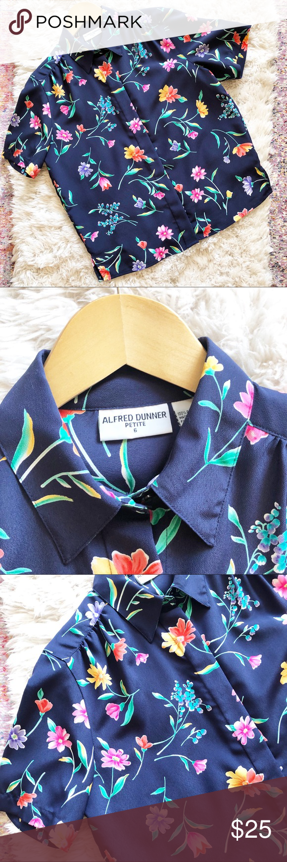 4868bd6f1f Vintage | Blue Floral Short Sleeve Button Up Shirt Navy blue floral blouse  from Alfred Dunner