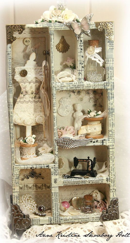 There's no DIY tutorial for this but, I'm thinking you could achieve the same look with a collage picture frame, glue, some neat papers, and whatever cool odds and ends you'd like.