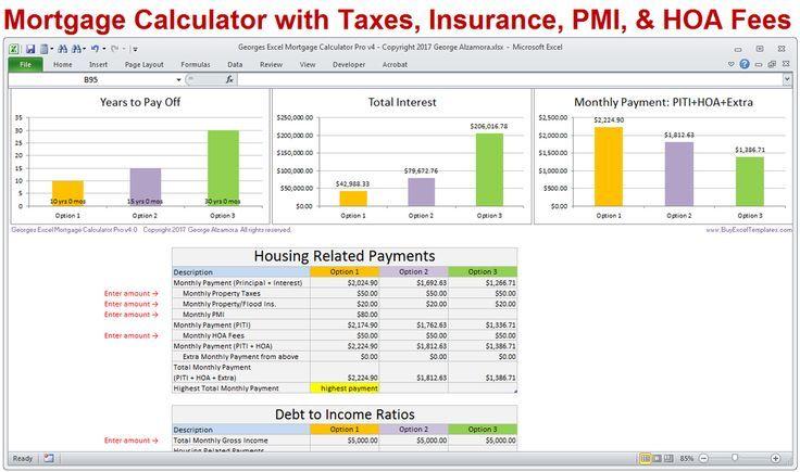 Mortgage Calculator Mortgage Calculator With Principal Interest Taxes Insurance Pmi Mortgage Amortization Mortgage Payment Calculator Mortgage Calculator Tools