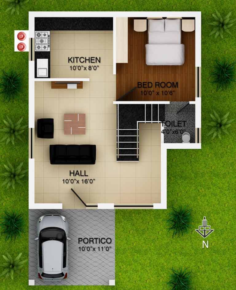 Low Budget Single Bedroom House Plans Indian Style