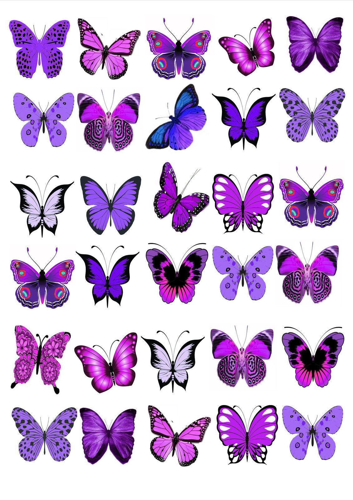 Mariposas Cake Toppers, Oblea 24 Purple Butterfly Cupcake Toppers comestibles Pastel