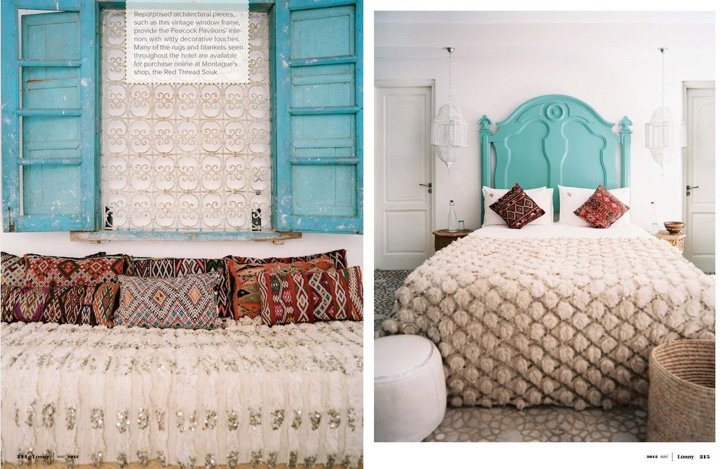 moroccan style: turquoise painted wood, pillows in rich colors and creme bedspreads