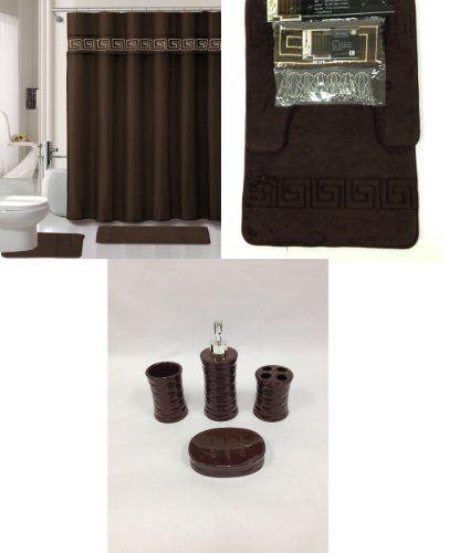 19 Piece Bath Accessory Set Coffee Brown Soft Memory Foam Bathroom Rug Contour Mat Shower Cur Memory Foam Bathroom Rug Bath Accessories Set Ceramic Accessory