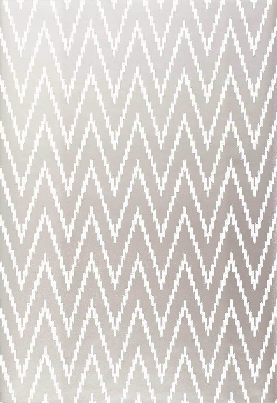 Wallcovering / Wallpaper | Kasari Ikat in Silver | Schumacher