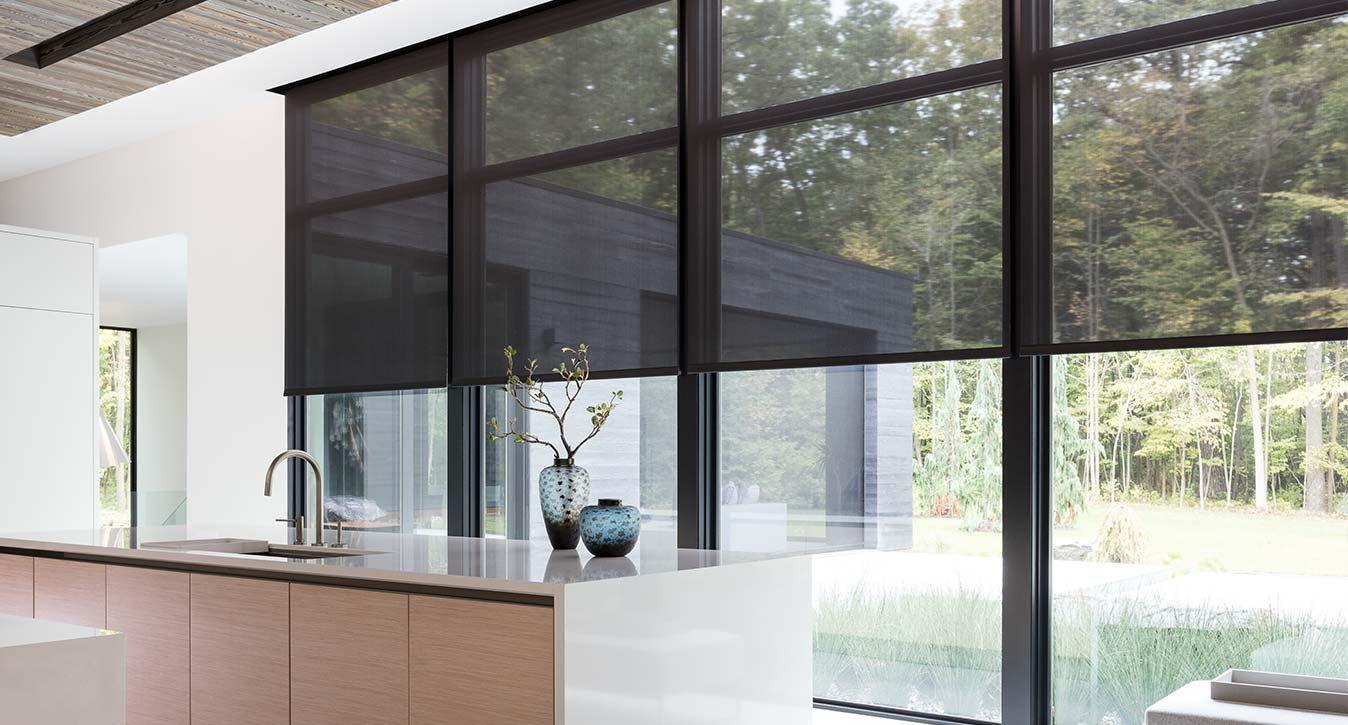 Motorized Window Shades With Images Solar Shades Motorized Window Shades Black Window Frames