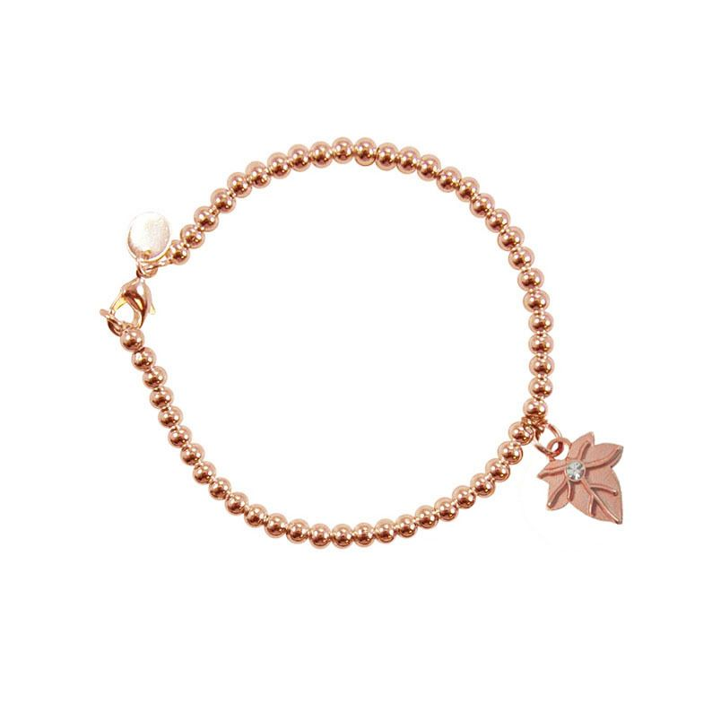 Ivy Leaf Rose Gold 4mm Ball Bead Bracelet Ivy leaf Alpha phi and