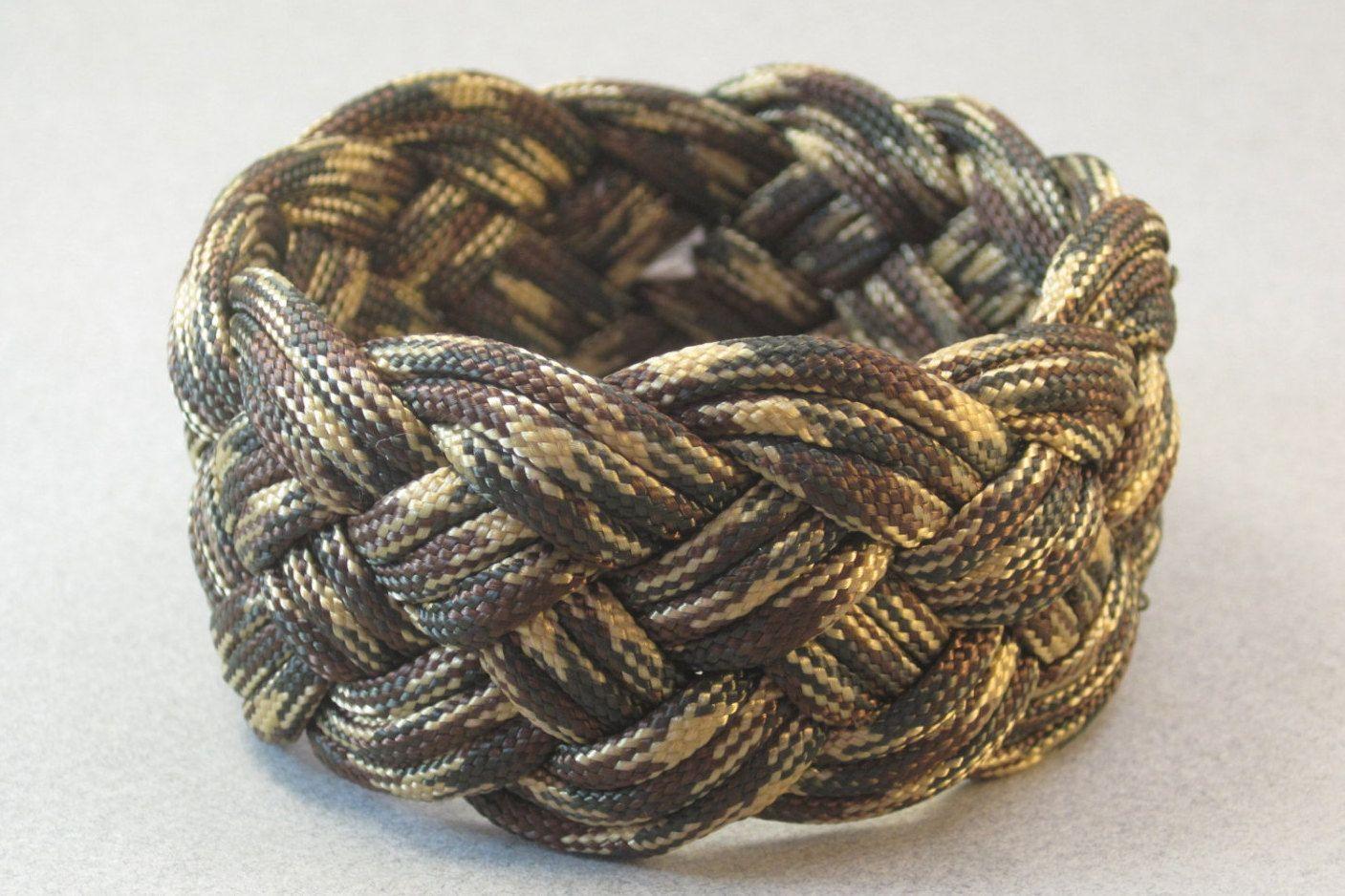 Camo Paracord Rope Bracelet Slip On Cuff Armband Turks Head Knot