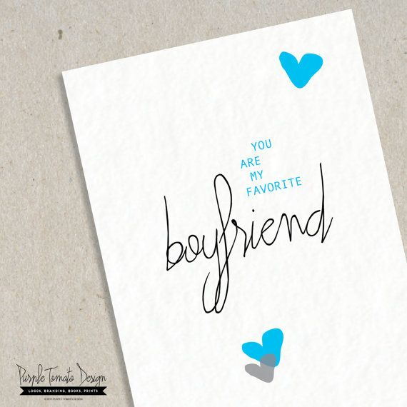 Favorite Boyfriend Card Printable Valentine Boyfriend card – Birthday Cards for a Boyfriend