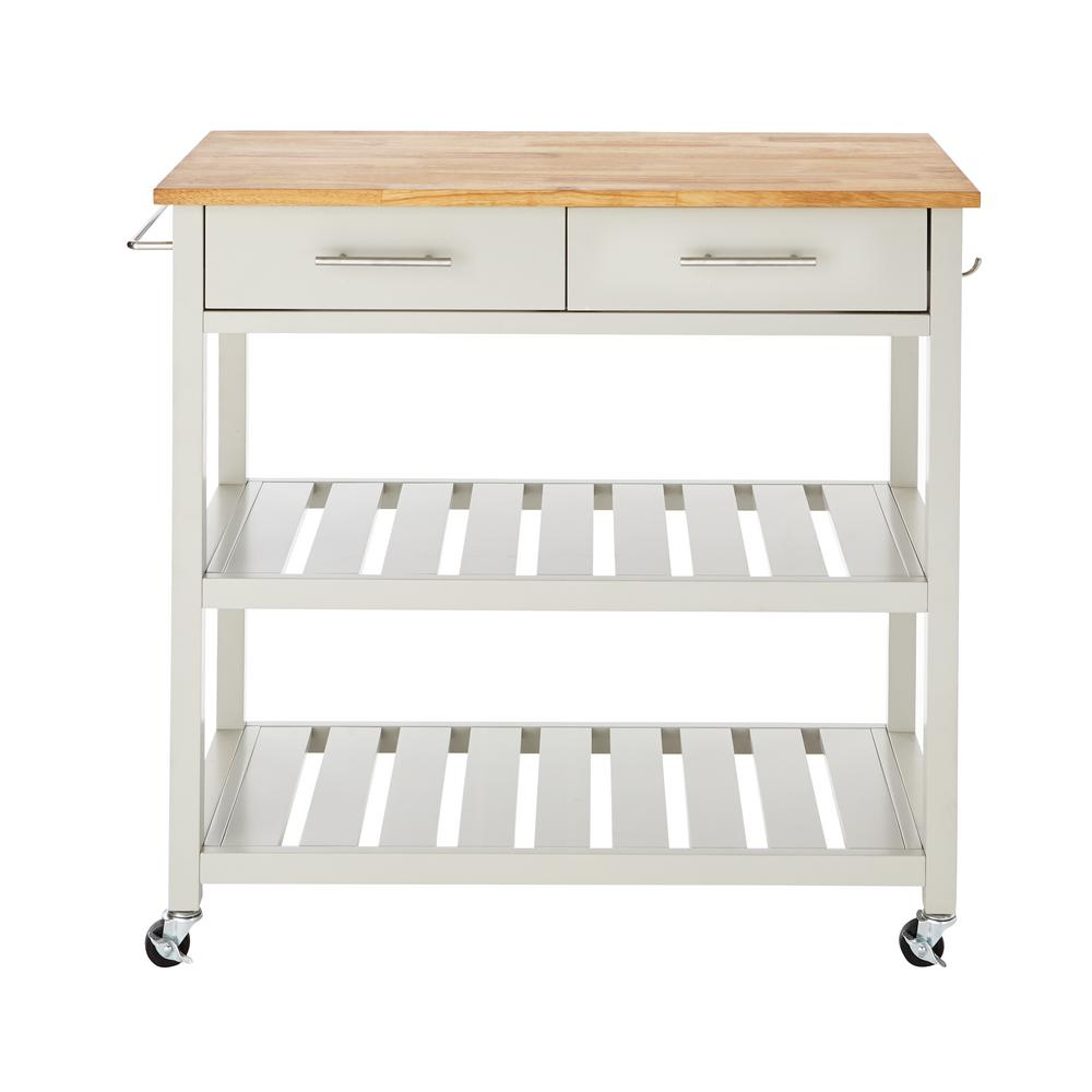 StyleWell Glenville White Double Kitchen Cart, White/Wood ...