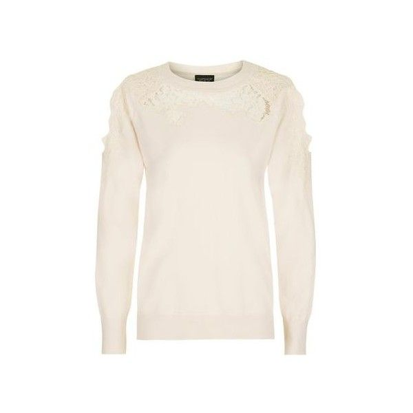 aedd36e5f3650 Topshop Lace Cold Shoulder Jumper ( 20) ❤ liked on Polyvore featuring tops