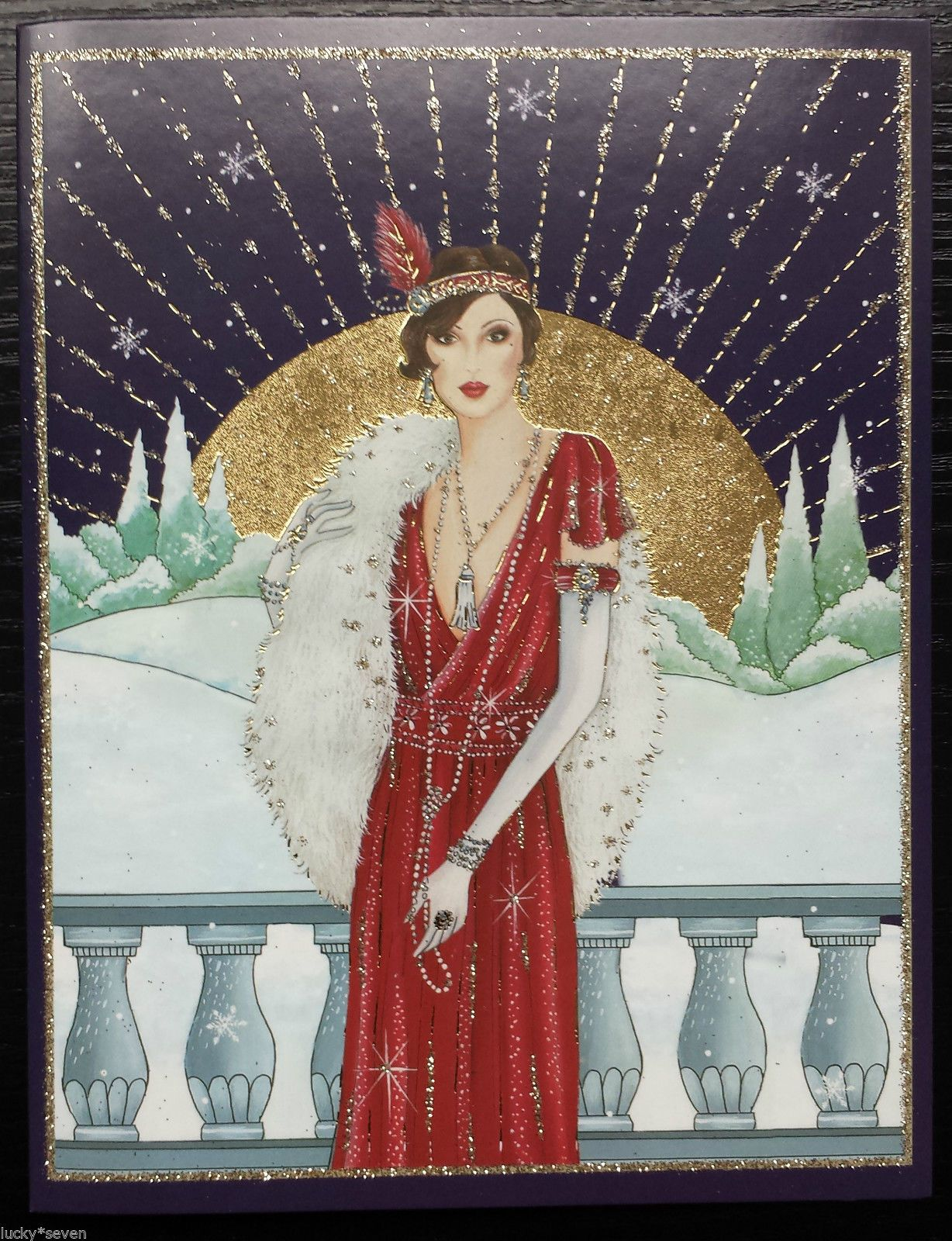11 Clintons Art Deco Lady Embellished Christmas Cards • £16.00 ...
