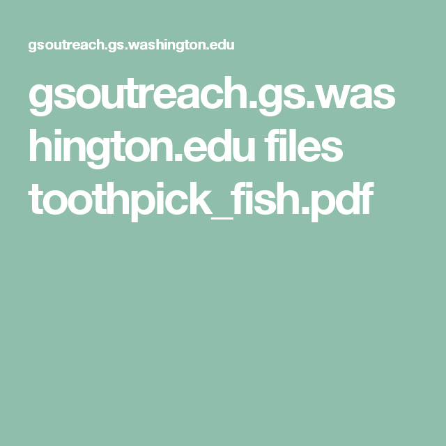 Genetic Makeup Of An Organism Alluring Gsoutreachgswashingtonedu Files Toothpick_Fishpdf  Genetics Review
